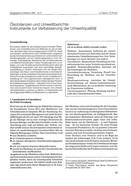 Ökobilanzen Und Umweltberichte : Instrum... by Capaul, U.