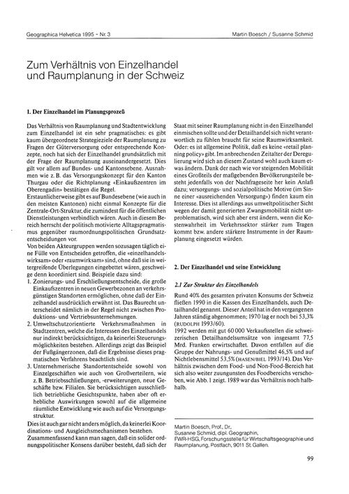 Zum Verhältnis Von Einzelhandel Und Raum... by Boesch, M.
