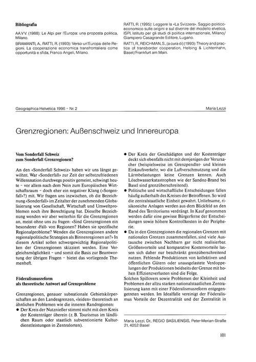 Grenzregionen : Aussenschweiz Und Innere... by Lezzi, M.