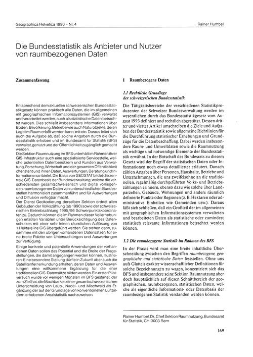 Die Bundesstatistik Als Anbieter Und Nut... by Humbel, R.
