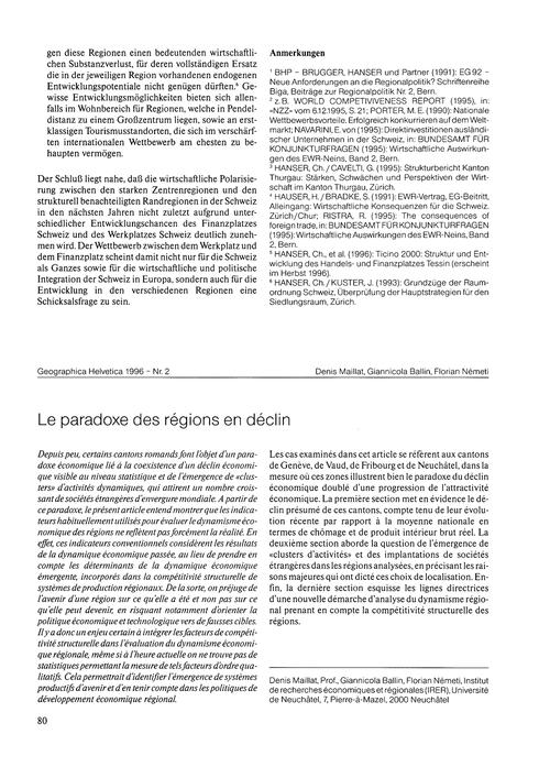 Le Paradoxe Des Régions En Déclin : Volu... by Maillat, D.