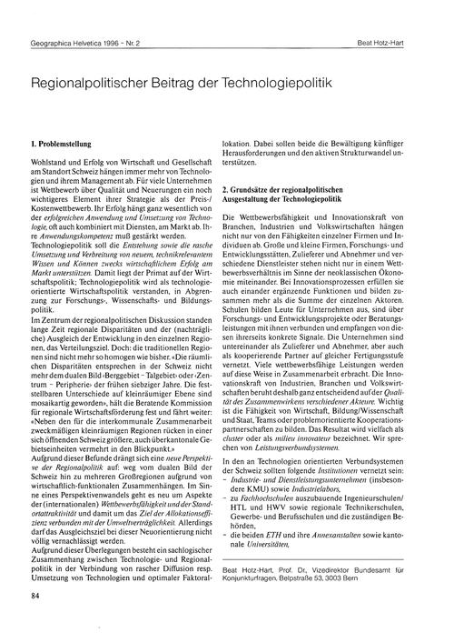 Regionalpolitischer Beitrag Der Technolo... by Hotz-hart, B.