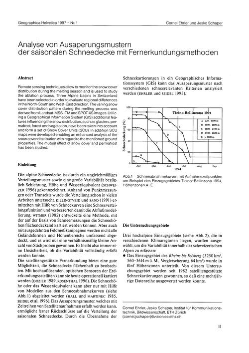 Analyse Von Ausaperungsmustern Der Saiso... by Ehrler, C.