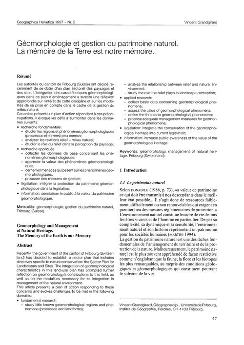 Géomorphologie Et Gestion Du Patrimoine ... by Grandgirard, V.