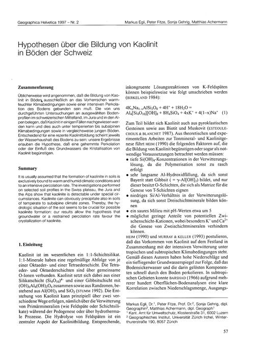 Hypothesen Über Die Bildung Von Kaolinit... by Egli, M.