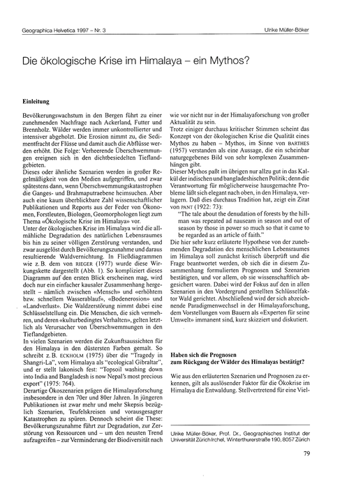 Die Ökologische Krise Im Himalaya : Ein ... by Müller-böker, U.