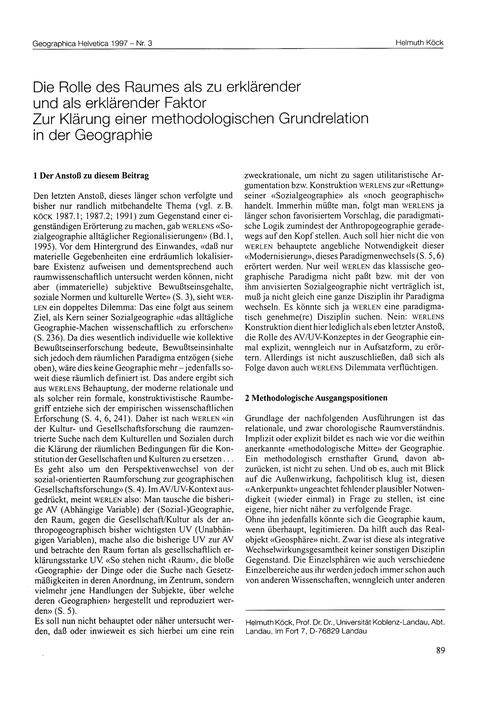 Die Rolle Des Raumes Als Zu Erklärender ... by Köck, H.