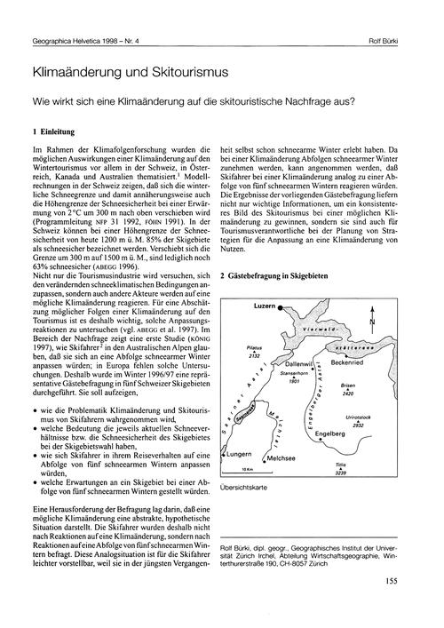 Klimaänderung Und Skitourismus : Wie Wir... by Bürki, R.