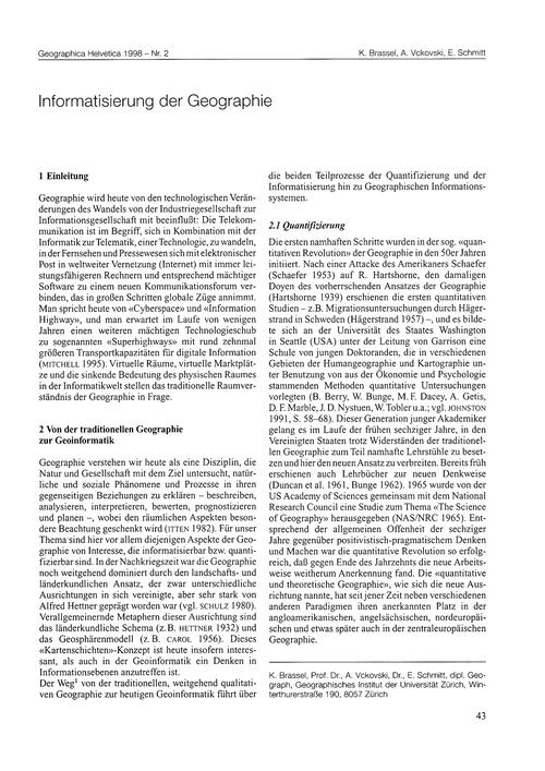 Informatisierung Der Geographie : Volume... by Brassel, K.