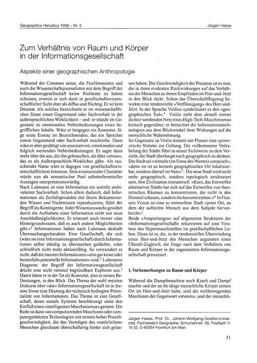 Zum Verhältnis Von Raum Und Körper in De... by Hasse, J.