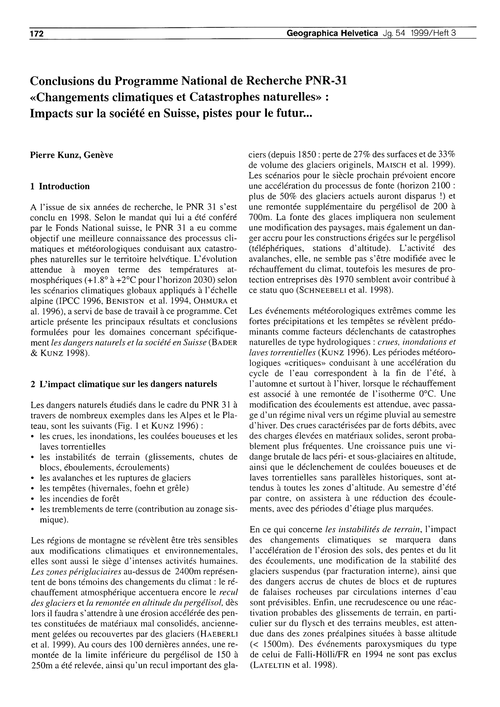 Conclusions Du Programme National De Rec... by Kunz, P.