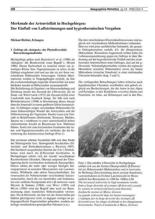 Merkmale Der Artenvielfalt in Hochgebirg... by Richter, M.