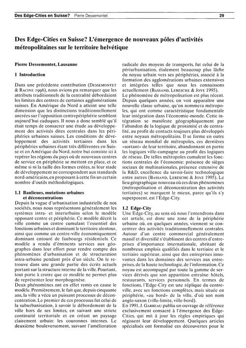 Des Edge-cities En Suisse? L'Émergence D... by Dessemontet, P.