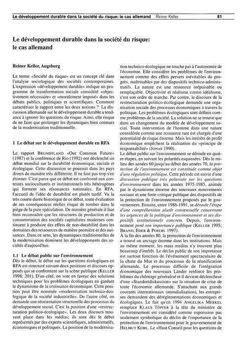 Le Développement Durable Dans La Société... by Keller, R.