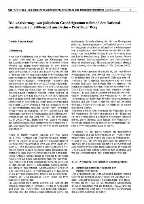 Die Artisierung Von Jüdischem Grundeigen... by Zunzer, D.