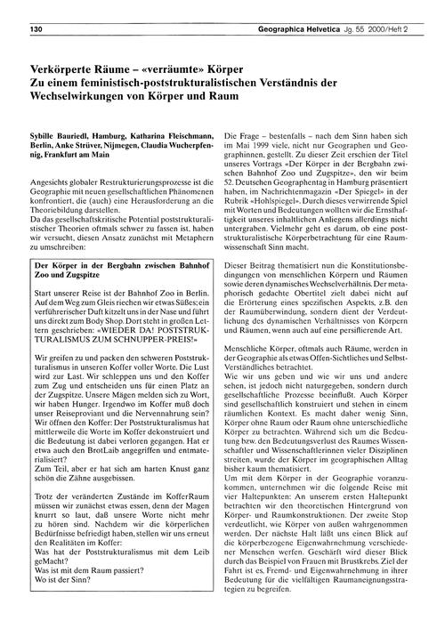 Verkörperte Räume - Verräumte Körper : Z... by Bauriedl, S.