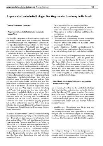 Angewandte Landschaftsökologie : Der Weg... by Mosimann, T.