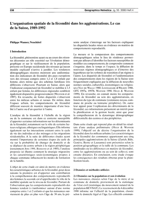 L'Organisation Spatiale De La Fécondité ... by Wanner, P.