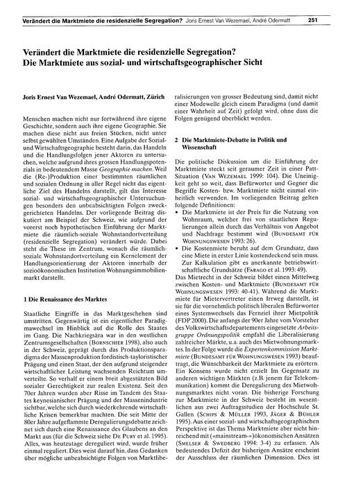 Verändert Die Marktmiete Die Residenziel... by Van Wezemael, J. E.