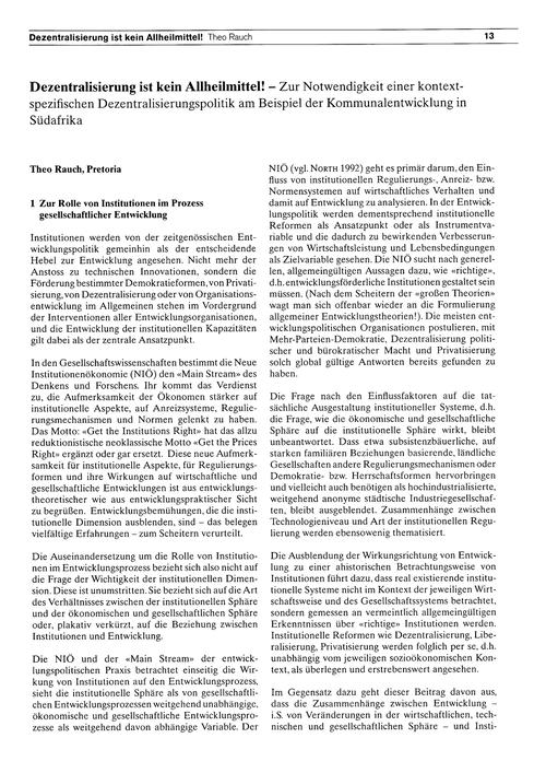 Dezentralisierung Ist Kein Allheilmittel... by Rauch, T.