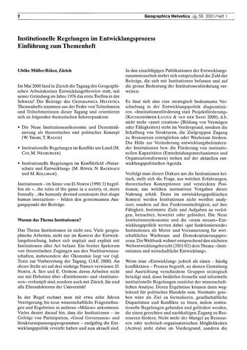 Institutionelle Regelungen Im Entwicklun... by Müller-böker, U.