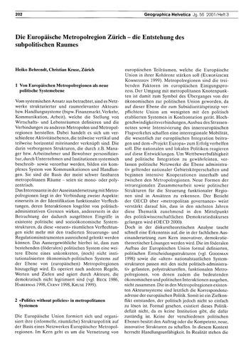 Die Europäische Metropolregion Zürich : ... by Behrendt, H.