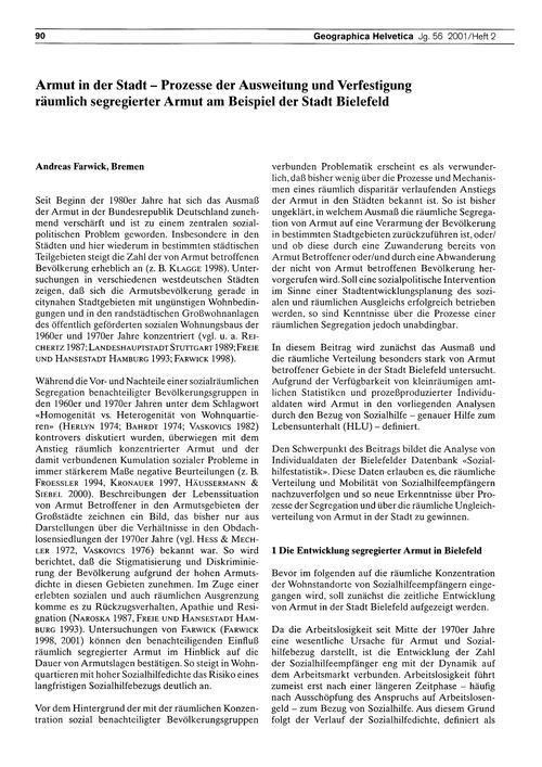 Armut in Der Stadt : Prozesse Der Auswei... by Farwick, A.
