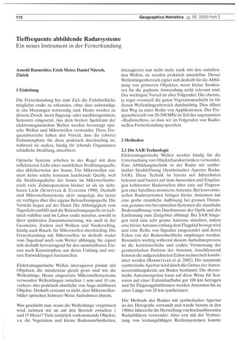 Tieffrequente Abbildende Radarsysteme : ... by Barmettler, A.