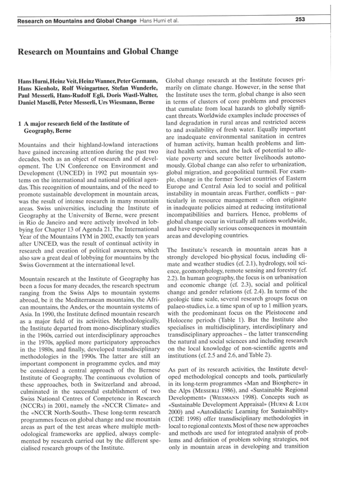 Research on Mountains and Global Change ... by Hurni, H.