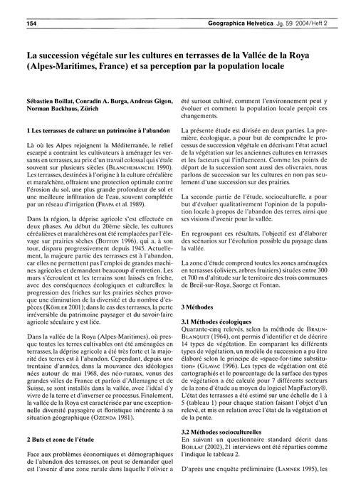 La Succession Végétale Sur Les Cultures ... by Boillat, S.