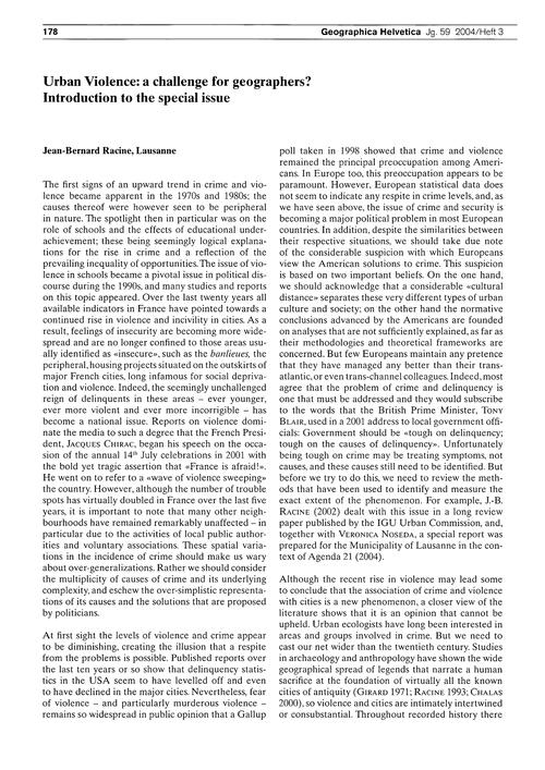 Urban Violence : a Challenge for Geograp... by Racine, J.-b.