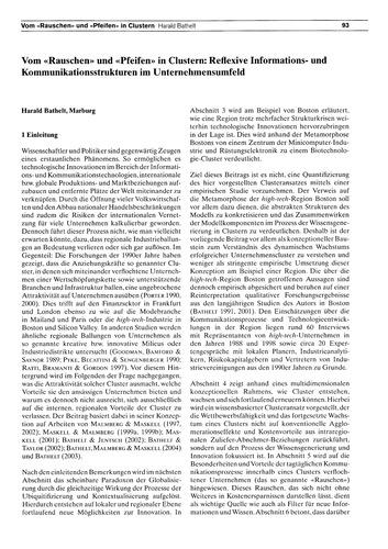 Vom Rauschen Und Pfeifen in Clustern : R... by Bathelt, H.