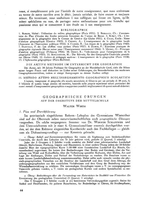Geographische Übungen Auf Der Oberstufe ... by Wirth, W.