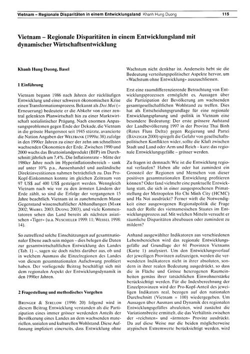 Vietnam : Regionale Disparitäten in Eine... by Duong, K. H.