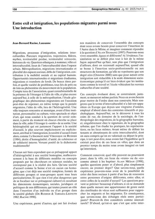 Entre Exil Et Intégration, Les Populatio... by Racine, J.-b.