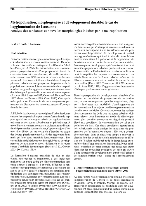 Métropolisation, Morphogénèse Et Dévelop... by Bochet, B.