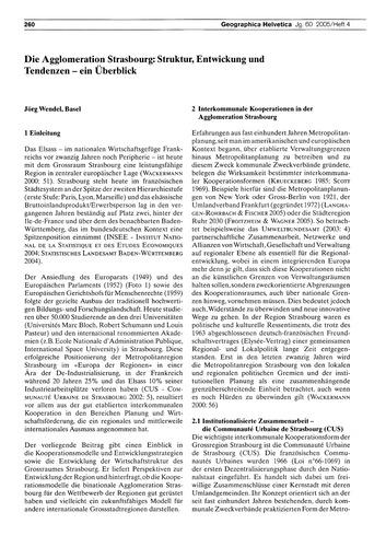 Die Agglomeration Strasbourg : Struktur,... by Wendel, J.