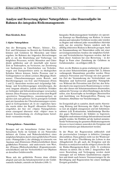 Analyse Und Bewertung Alpiner Naturgefah... by Kienholz, H.
