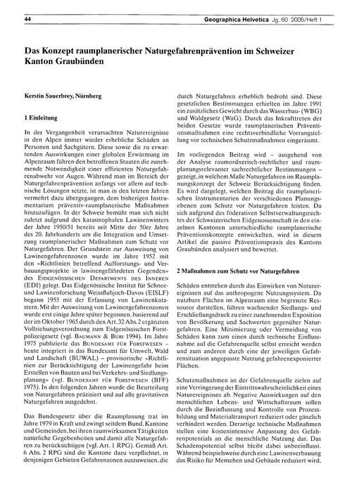 Das Konzept Raumplanerischer Naturgefahr... by Sauerbrey, K.