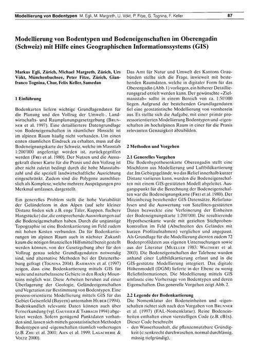 Modellierung Von Bodentypen Und Bodeneig... by Egli, M.