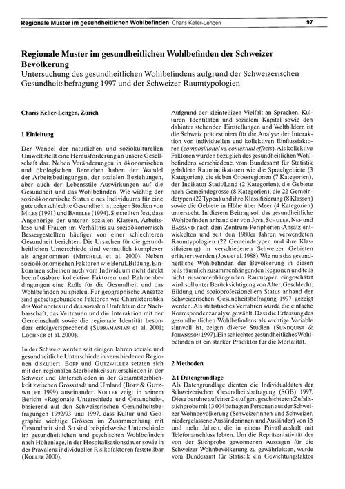 Regionale Muster Im Gesundheitlichen Woh... by Keller-lengen, C.