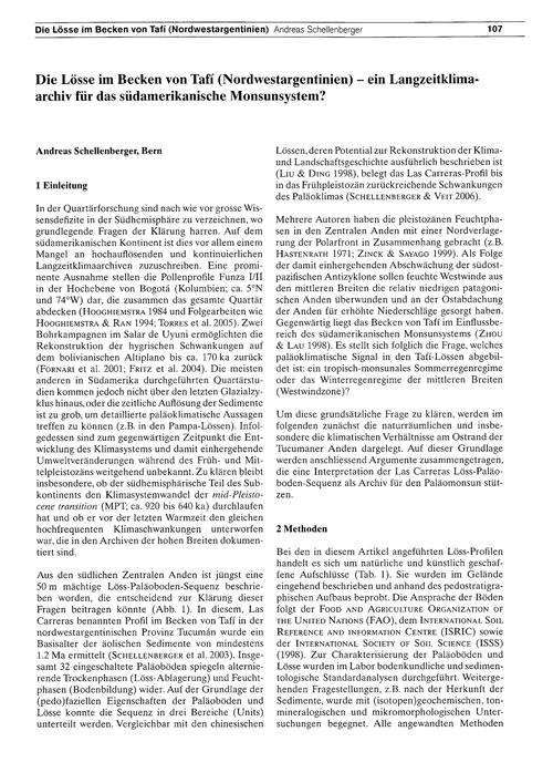 Die Lösse Im Becken Von Tafí (Nordwestar... by Schellenberger, A.