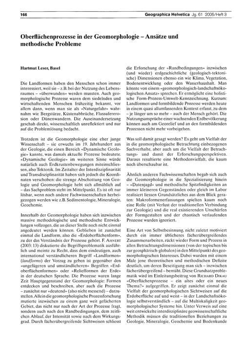 Oberflächenprozesse in Der Geomorphologi... by Leser, H.