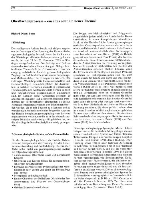 Oberflächenprozesse : Ein Altes Oder Ein... by Dikau, R.