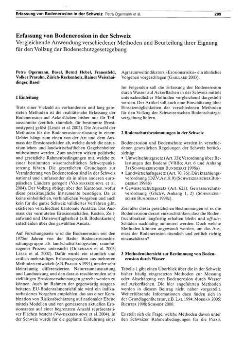 Erfassung Von Bodenerosion in Der Schwei... by Ogermann, P.