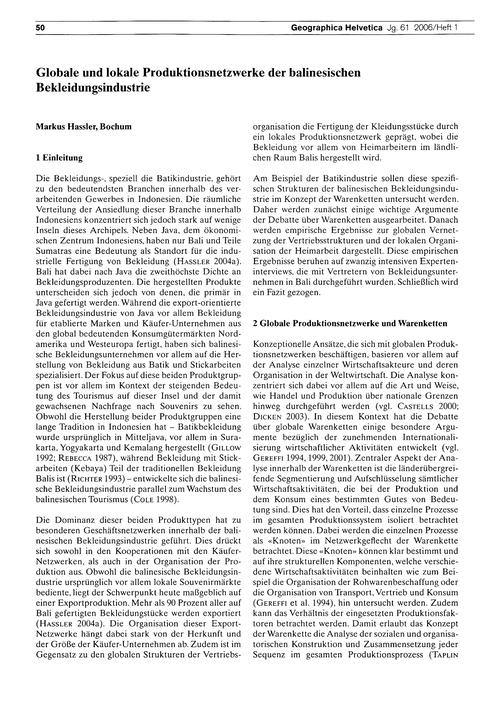 Globale Und Lokale Produktionsnetzwerke ... by Hassler, M.