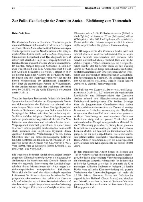 Zur Paläo-geoökologie Der Zentralen Ande... by Veit, H.