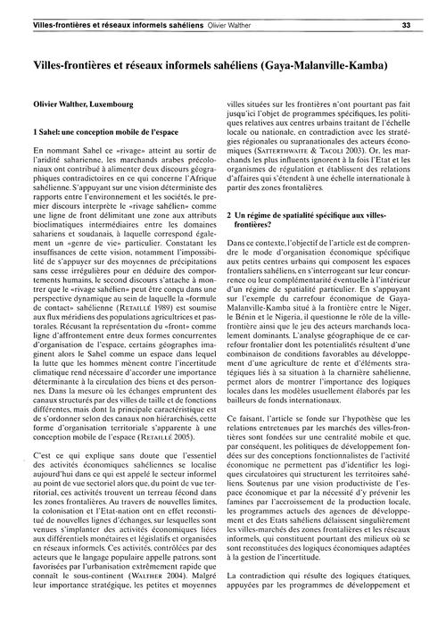 Villes-frontières Et Réseaux Informels S... by Walther, O.