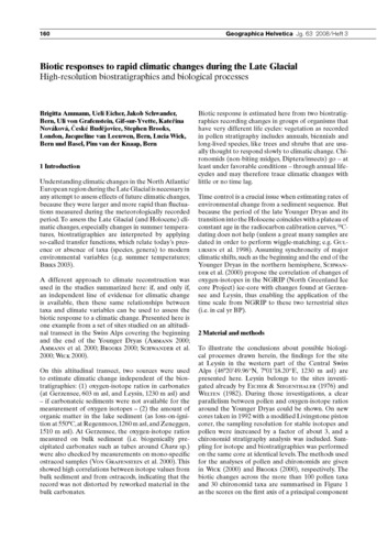 Biotic Response to Rapid Climatic Change... by Ammann, B.