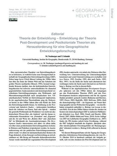 Editorial Theorie Der Entwicklung – Entw... by Neuburger, M.